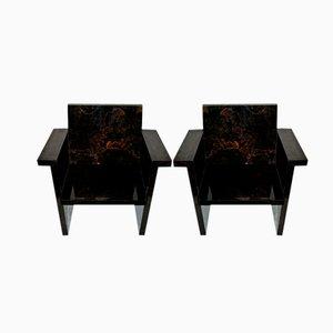 Kunstmarmor Formica Lehnstühle, 1970er, 2er Set