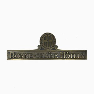 Vintage French Brass Bonne-Chaîne Hôtels Sign, 1970s