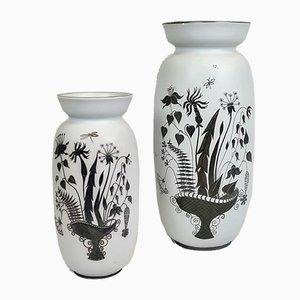 Keramikvasen mit Silberauflage von Stig Lindberg für Gustavsberg, 1950er, 2er Set