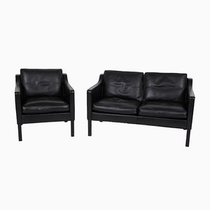 Mid-Century 2-Seater Sofa & Lounge Chair by Børge Mogensen for Fredericia, Set of 2