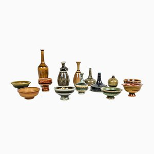 Swedish Miniatures Ceramic Set by Andersson John for Höganäs, 1960s, Set of 15