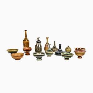 Swedish Miniatures Keramik Set von Andersson John für Höganäs, 1960er, Set of 15