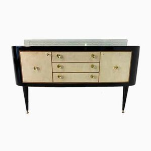 Italian Black Maple and Parchment Sideboard, 1940s