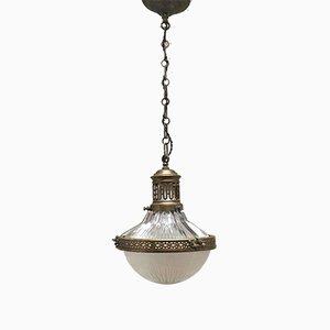 Vintage Deckenlampe mit prismatischem Glas von Holophane