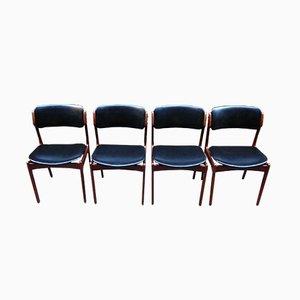 Dänische Midcentury Esszimmerstühle mit Schwarzem Kunstleder, 1960er, 4er Set