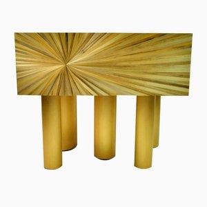 Nachttische aus Gebürstetem Messing & Stroh Intarsie von Ginger Brown, 2er Set