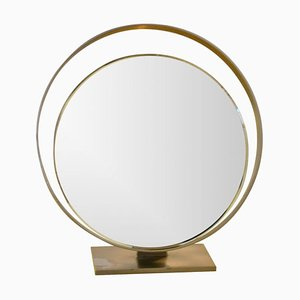 Brass & Silver Reclining Mirror from Fontana Arte, 1962