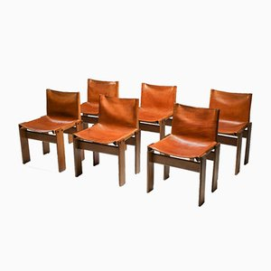 Cognac Leather Monk Dining Chairs by Tobia & Afra Scarpa for Molteni, 1974, Set of 6