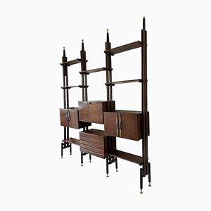 Librería modular de palisandro con el estilo de Franco Albini, años 60