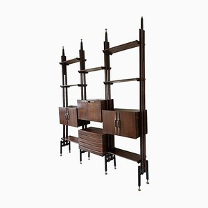 Modular Rosewood Bookcase in the Style of Franco Albini, 1960s