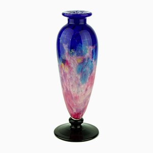 Art Deco Blue and Pink Vase by Charles Schneider with Black Foot, 1920s