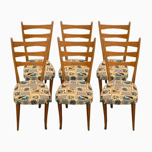 Dining Chairs with Removable Fabric, 1950s, Set of 6