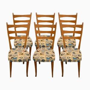 Esszimmerstühle mit Abnehmbarem Stoff, 1950er, 6er Set