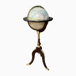 English Mahogany Globe on Gilt Bronze Tripod, 1950s
