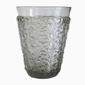 French Glass Vase with Frosted Leaves and Berries by René Lalique, 1940s