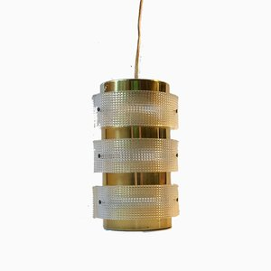 Vintage Danish Lucite & Brass Pendant Light from Lyfa, 1960s