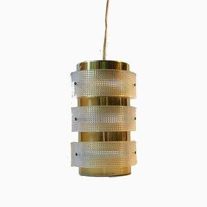 Vintage Danish Lucite & Brass Pendant Light from Lyfa, 1960s