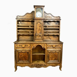 Louis XV Burr Elm & Walnut Buffet with Clock