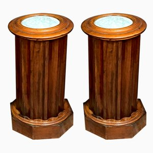Empire Mahogany Console Tables with Curved Facets, Set of 2