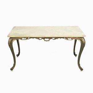 Tavolino da caffè vintage in ottone e marmo, anni '50