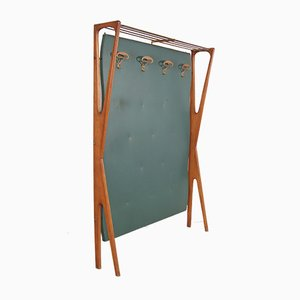 Green Wood & Brass Coat Rack, 1950s