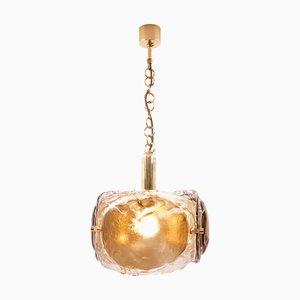 Lampada da soffitto Mid-Century in ottone e vetro di Kaiser Idell / Kaiser Leuchten