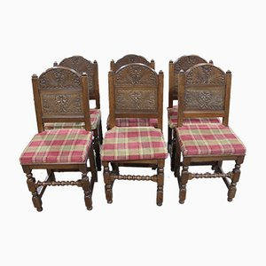 Antique Carved Oak Dining Chairs, 1900s, Set of 8