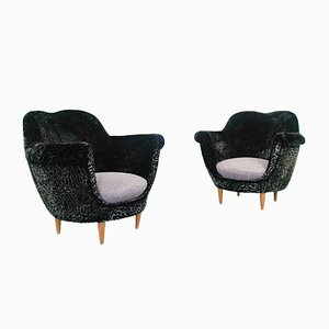Vintage Velvet Lounge Chairs by Federico Munari, 1950s, Set of 2