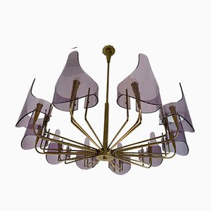 Italian Brass and Lucite Chandelier from Stilux Milano. 1960s