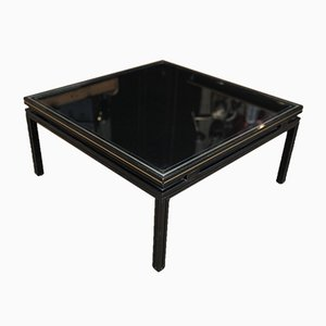 Black Metal & Opaline Coffee Table by Pierre Vandel, 1970s