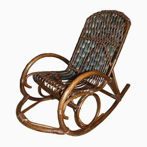 Vintage Dark Bamboo Rocking Chair