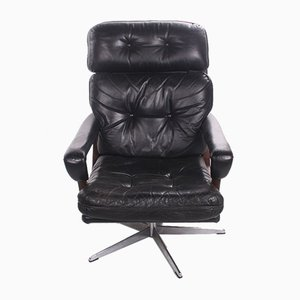 Black German Sheep Leather Swivel Armchair with Rosewood