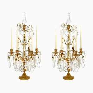Antique 5-Flame Flambeaux Candleholders in Golden Bronze and Crystal, Set of 2