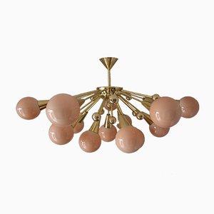 Vintage Half Sputnik Chandelier in Light Pink-Beige Murano Glass and Brass