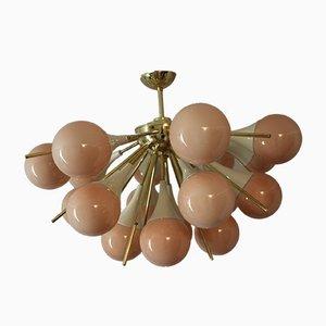 Halber Vintage Sputnik Kronleuchter aus hellrosa Murano Glas und Messing in Beige