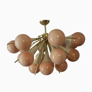 Vintage Half Sputnik Chandelier in Light Pink-Beige Murano Glass and Brass