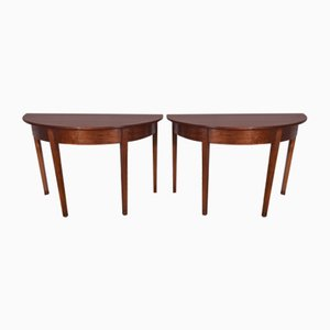 Georgian Mahogany Demi Lune Console Tables, Set of 2
