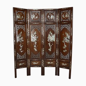 19th Century Asian 4-Panel Folding Screen in Carved Wood and Marquetry