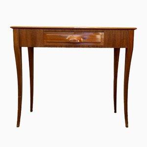 Italian Art Deco Walnut Veneer Console Table with Opaline Glass Marble Effect, 1940s