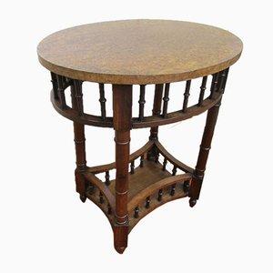 Antique Elm Oval Pedestal Console Table, 1900s