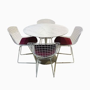 Marble Tulip Dining Table & Wire Chairs Set by Eero Saarinen & Harry Bertoia for Knoll Inc. / Knoll International, 1971, Set of 5