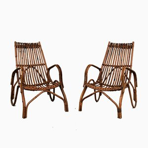 Italian Bamboo Lounge Chairs, 1960s, Set of 2