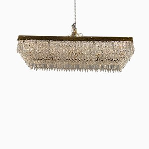Large Rectangular Crystal Flushmount Chandelier