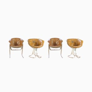 Chrome Pan Am Dining Chairs by Gastone Rinaldi for Rima, 1970s, Set of 4