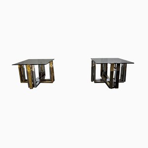 Chrome & Brass Side Tables from Belgo Chrom / Dewulf Selection, 1970s, Set of 2