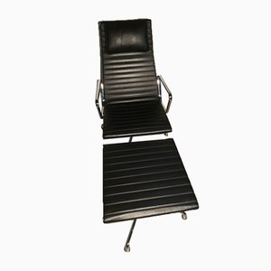 Aluminum Chair & Footrest in the Style of Charles & Ray Eames for Vitra, 1980s, Set of 2