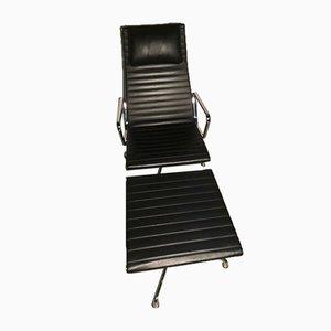 Chaise & Repose-Pieds en Aluminium dans le Style de Charles & Ray Eames pour Vitra, 1980s, Set de 2
