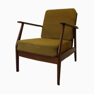 Vintage Danish Armchair with Green Spring Cushion in the Style of Arne Vodder, 1960s