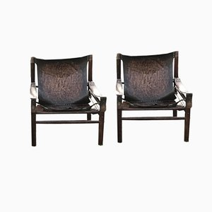 Leather Safari Armchairs, 1960s, Set of 2