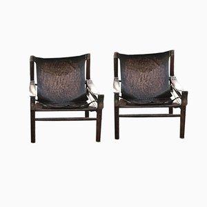 Leder Safari Sessel, 1960er, 2er Set